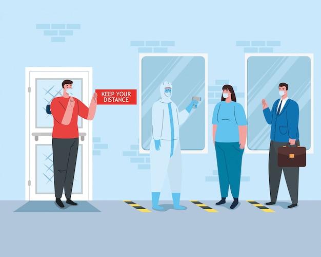Distanciamento social, pessoas usando máscara médica em pé de linha, fachada da empresa, prevenção de coronavírus covid-19