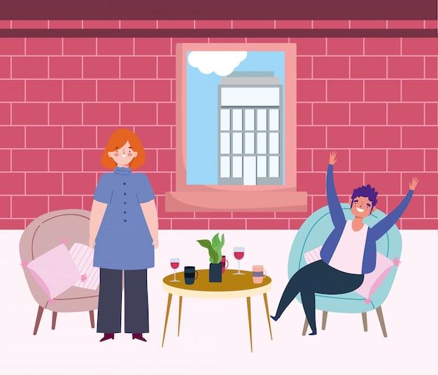 Distanciamento social restaurante ou um café, celebrando a mulher e o homem com bebidas na mesa, manter distância