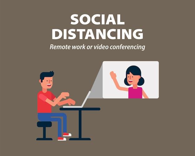 Distanciamento social, trabalho remoto ou videoconferência para proteger do covid-19, infográfico de coronavírus
