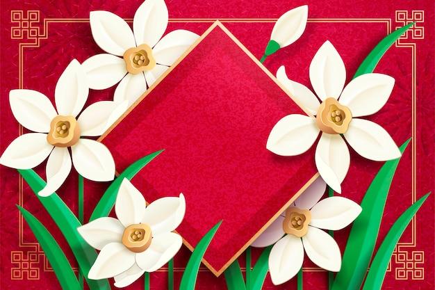 Dístico de primavera em branco com arte em papel narciso em fundo vermelho