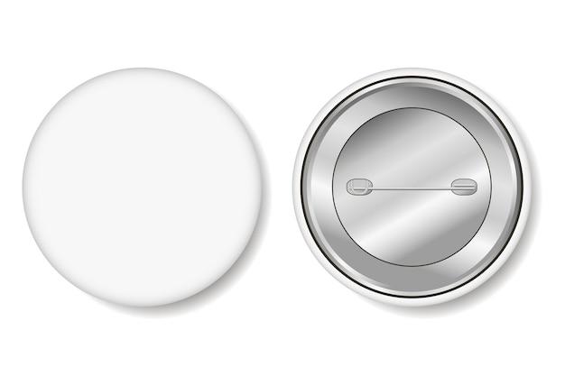 Distintivo. botão de pino branco em branco - maquete realista. ilustração vetorial.