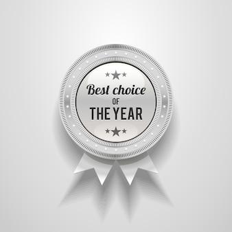 Distintivo brilhante prateado com a escolha do ano.
