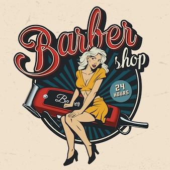 Distintivo colorido de barbearia vintage