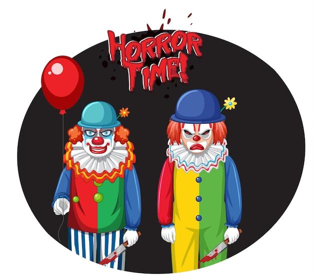 Distintivo da hora do terror com dois palhaços assustadores