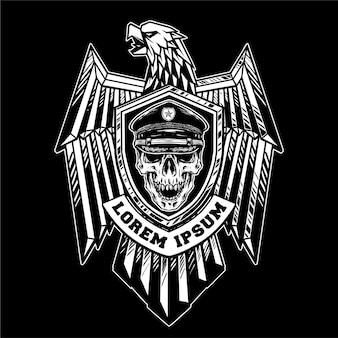 Distintivo de águia com ilustração de estilo militar de cobra de caveira