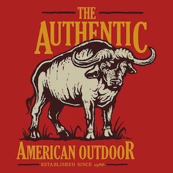 Distintivo de animais ao ar livre americano vintage