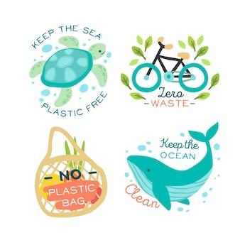 Distintivo de animais e objetos ecológicos
