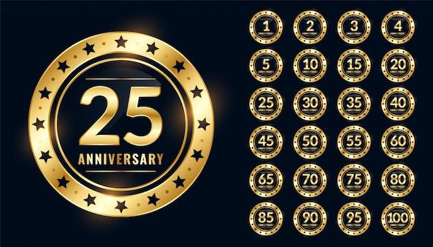 Distintivo de aniversário grande conjunto em cores douradas premium
