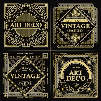 Distintivo de art deco de ouro vintage