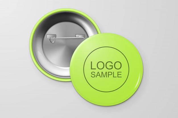 Distintivo de botão em branco.