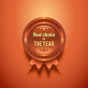 Distintivo de bronze brilhante com a escolha do ano.