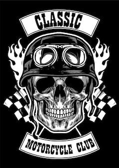 Distintivo de clube com crânio usando imagem de capacete