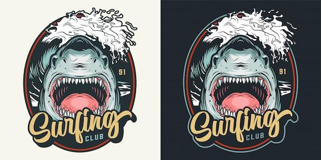 Distintivo de clube de surf colorido verão