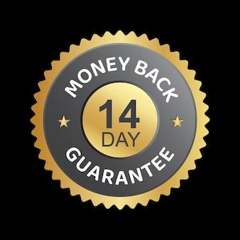 Distintivo de confiança de vetor de garantia de devolução de dinheiro em 14 dias