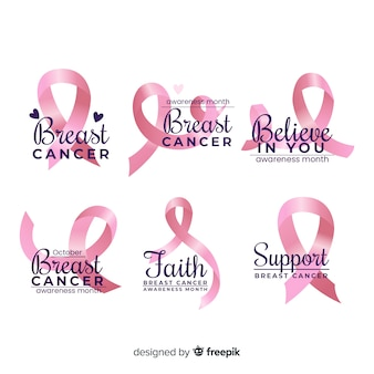 Distintivo de conscientização de câncer de mama realista
