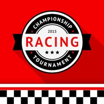 Distintivo de corrida em fundo vermelho