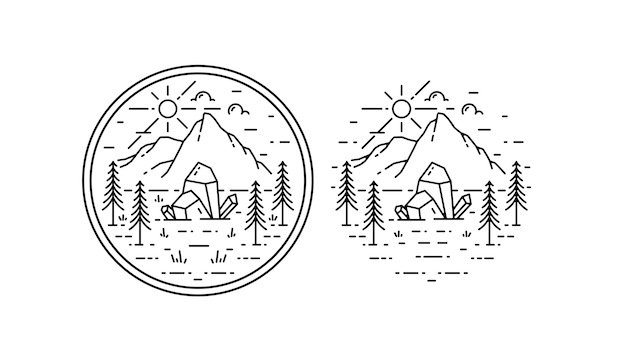 Distintivo de cristal de aventura monoline vintage
