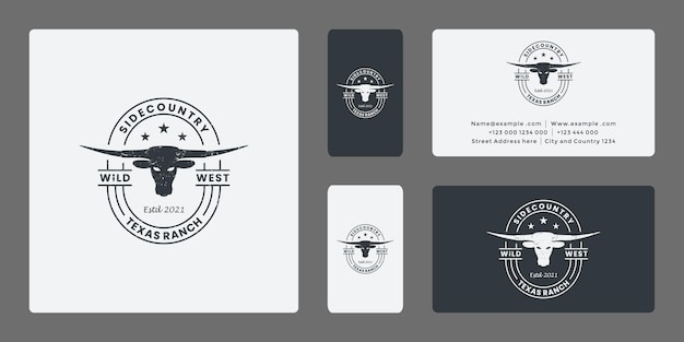 Distintivo de design de logotipo longhorn estilo vintage