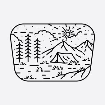Distintivo de distintivo de linha selvagem de aventura em acampamento