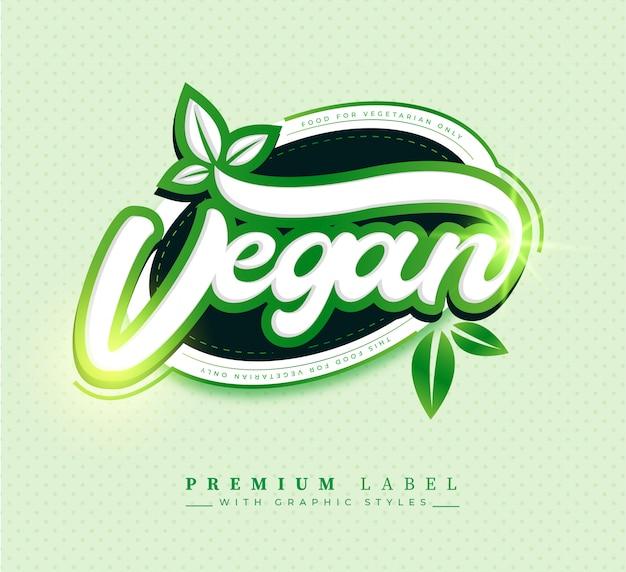 Distintivo de etiqueta de rótulo de comida vegan premium