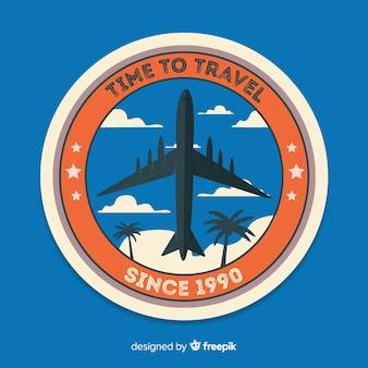 Distintivo de etiqueta de viagens vintage plana