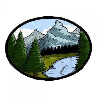 Distintivo de floresta e montanha