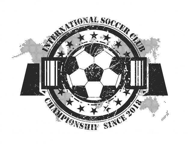Distintivo de futebol grunge abstrata com mapa-múndi e elementos de partícula de poeira de risco