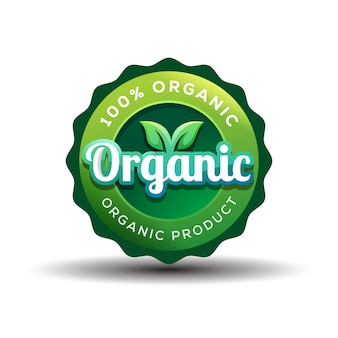 Distintivo de gradiente design de logotipo orgânico ou vegan