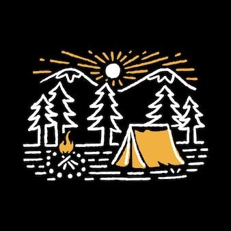 Distintivo de linha selvagem de aventura em acampamento