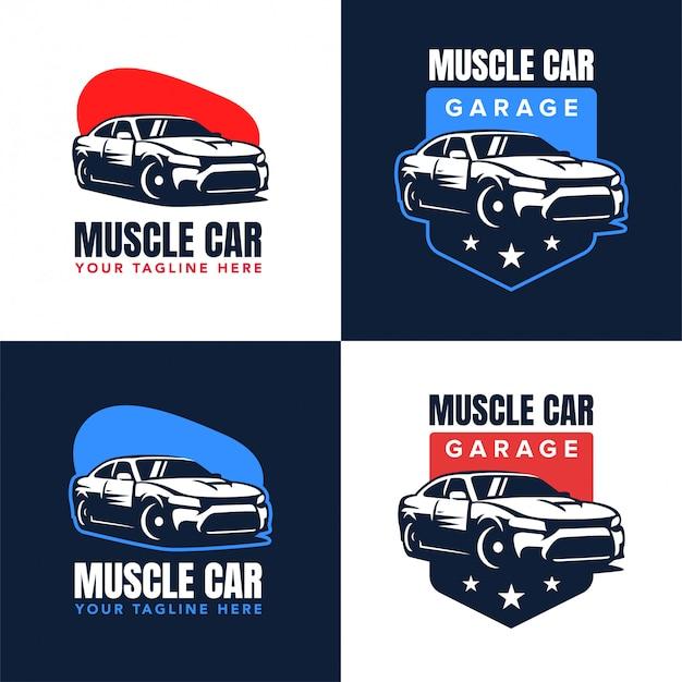 Distintivo de logotipo de carro muscular