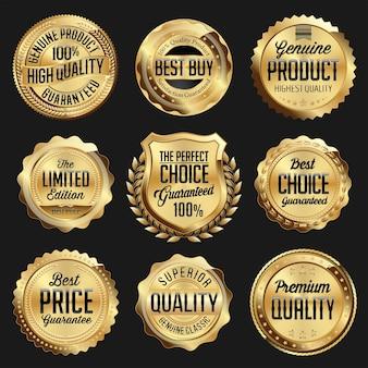 Distintivo de luxo brilhante dourado e preto