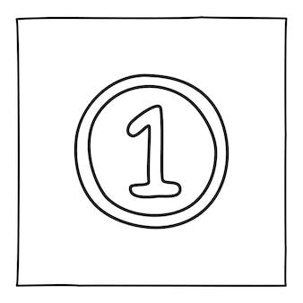 Distintivo de medalha doodle com fita e mão de ícone número 1 desenhada com linha preta fina. isolado em um fundo branco. ilustração vetorial