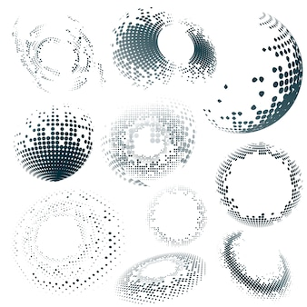 Distintivo de meio-tom preto sobre fundo branco definido