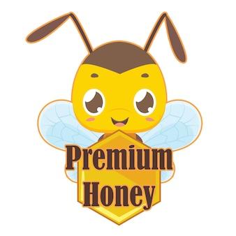 Distintivo de mel premium com abelha bonito