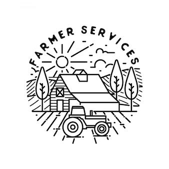 Distintivo de monoline dos serviços do fazendeiro