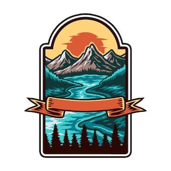 Distintivo de montanha e lago