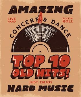 Distintivo de música vintage em estilo retro com placa de vinil, guitarra e texto.