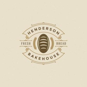 Distintivo de padaria ou logotipo design retrô vector