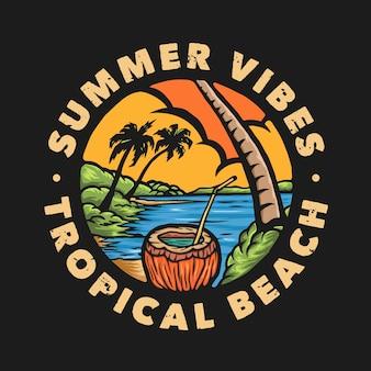 Distintivo de praia tropical com vibrações de verão vintage