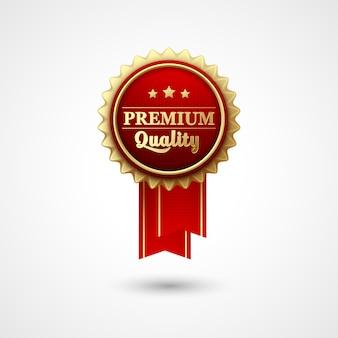 Distintivo de prêmio de vetor de cor vermelha e fita.