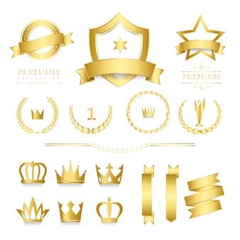 Distintivo de qualidade premium e coleção de banner