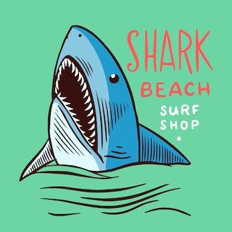 Distintivo de surf. tubarão retro.