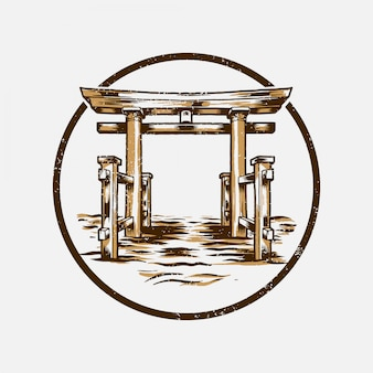 Distintivo de torii gate japão estilo vintage