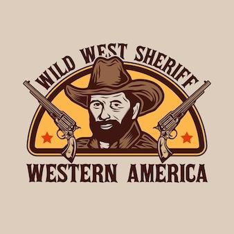Distintivo de xerife cowboy do oeste selvagem