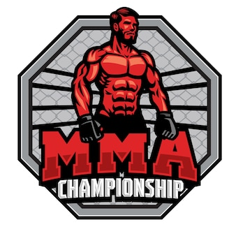 Distintivo do campeonato de lutador de mma isolado no branco