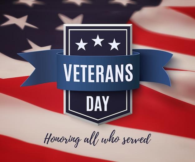 Distintivo do dia dos veteranos no fundo da bandeira americana