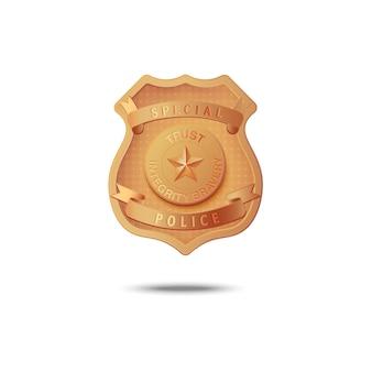 Distintivo dourado da ilustração especial da polícia em um branco