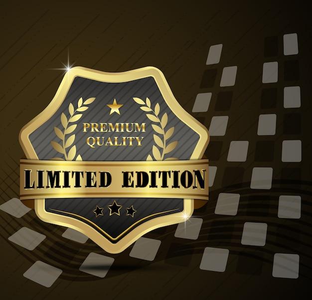 Distintivo dourado de qualidade premium