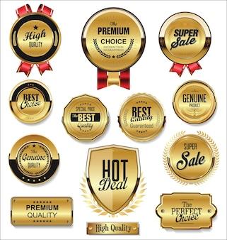 Distintivo dourado e etiquetas