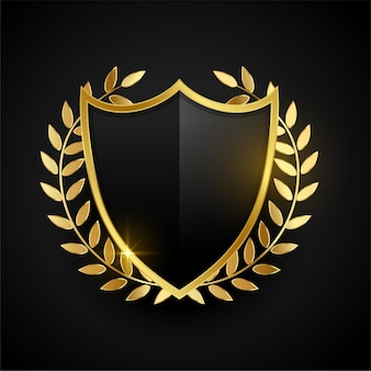 Distintivo dourado ou escudo com folhas douradas